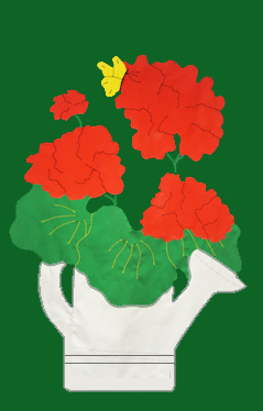 Geraniums in Watering Can Applique Flag on Forest with Red