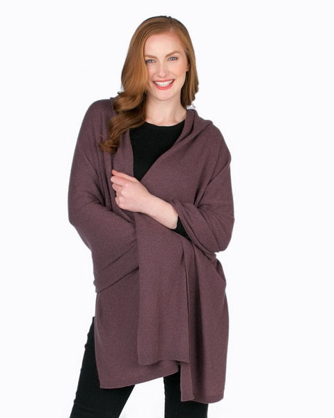 Alashan Cashmere Luxe travel Wrap - Plum Ice