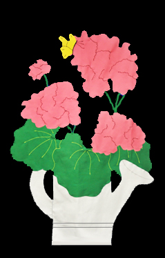 Geraniums in Watering Can Applique House Flag on Black with Pink