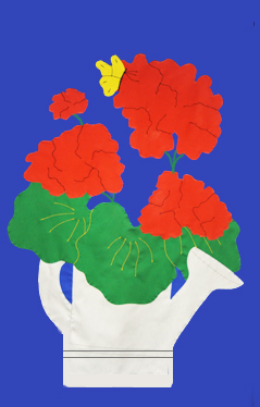 Geraniums in Watering Can Applique Flag on Royal with Red