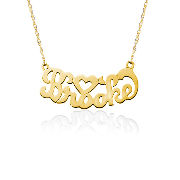 Jane Basch Gold Nameplate Necklace - Script & Heart