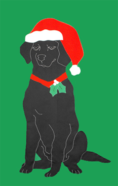 Black Lab & Santa Hat Flag on Kelly