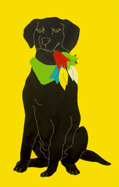 Black Lab & Tulips Flag on Yellow