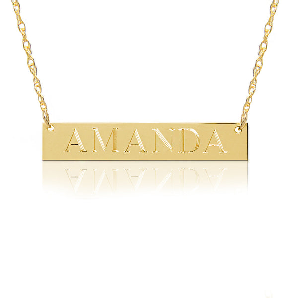 Jane Basch Gold Bar Nameplate Necklace - FREE ENGRAVING!