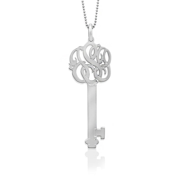 Jane Basch Monogram Key Pendant & Chain - Sterling Silver