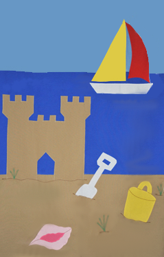 Beach & Sandcastle Applique House Flag