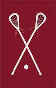 Lacrosse Applique House Flag on Burgundy