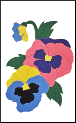 Pansies Applique House Flag on White