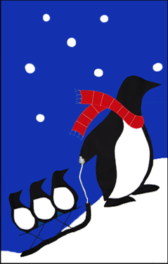 Penguin Family Applique House Flag on Royal