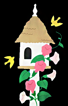 Birdhouse & Trumpet Vines Flag - Black with Pink Flowers