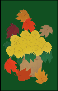 Mums & Falling Leaves Applique Flag on Forest