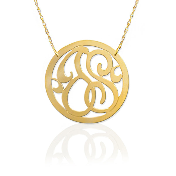 Jane Basch Designs Petite Personal 2-Initial Block Necklace - 14K Yellow Gold
