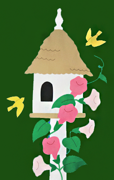 Birdhouse & Trumpet Vines Flag - Forest with Pink Flowers
