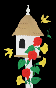 Birdhouse & Trumpet Vines Flag on Black with Red Flowers