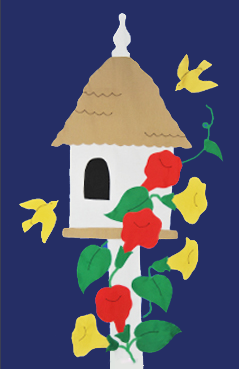 Birdhouse & Trumpet Vines Flag on Navy with Red Flowers
