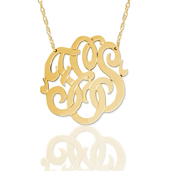 Jane Basch Lace Monogram Necklace - 14K Gold or Gold Vermeil