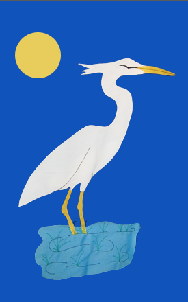 Heron & Seagrasses Applique Flag