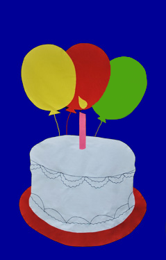 Birthday Cake Applique Flag on Royal