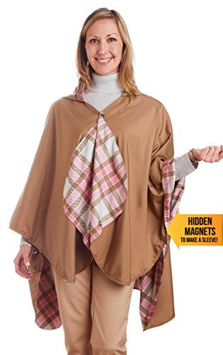 RainCaper - Reversible, Packable, Waterproof Rain Poncho - Toast/Pink Plaid
