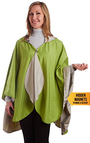 RainCaper - Reversible, Packable, Waterproof Rain Poncho - Sand/Greenery
