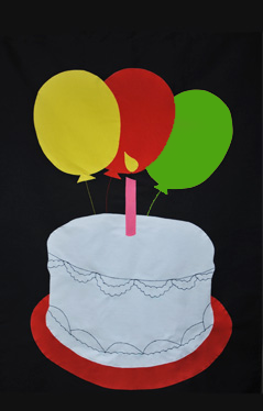 Birthday Cake Applique Flag on Black