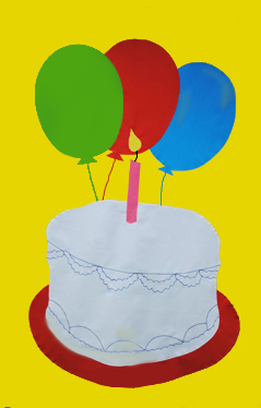 Birthday Cake Applique Flag on Yellow
