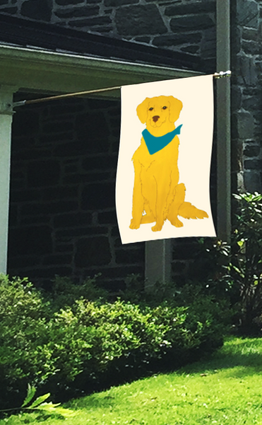 Golden Retriever Flag on Ivory
