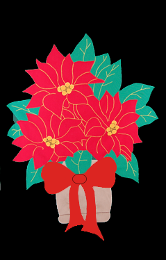 Red Poinsettia in Urn Applique Flag on Black
