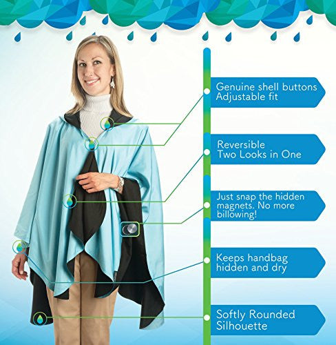 RainCaper - Reversible, Packable, Waterproof Rain Poncho - Greenery/Seahorse