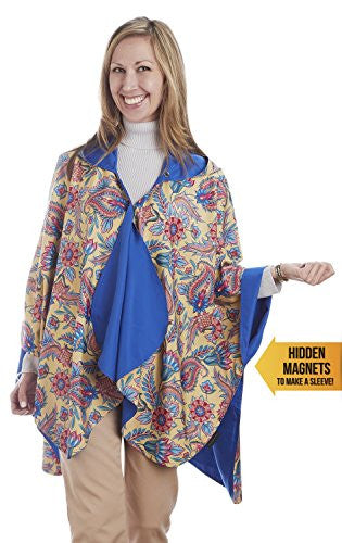 RainCaper - Reversible, Packable, Waterproof Rain Poncho - Cobalt/Floral