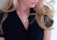 Jane Basch Designs Gold Monogram Necklace on CZ Station Chain