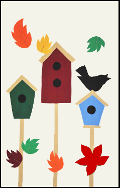 3 Birdhouses & Leaves House Flag on Ivory