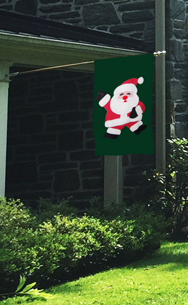 Santa Disco House Flag on Forest/Red