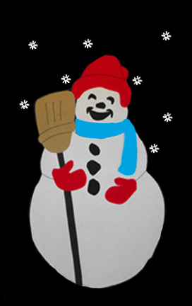 Snowman & Broom Applique Flag on Black