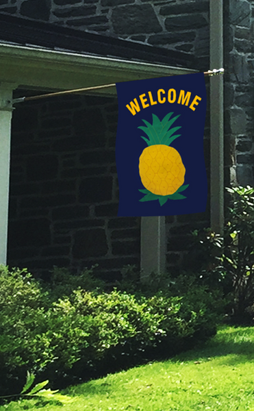 "Pineapple ""WELCOME"" Applique Flag - Navy"
