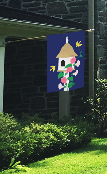 Birdhouse & Trumpet Vines Flag on Navy with Pink Flowers