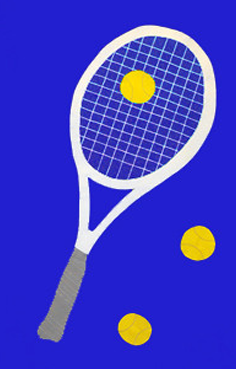 Tennis Applique House Flag on Royal