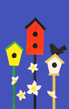 3 Birdhouses & Blossoms Applique Flag on Royal