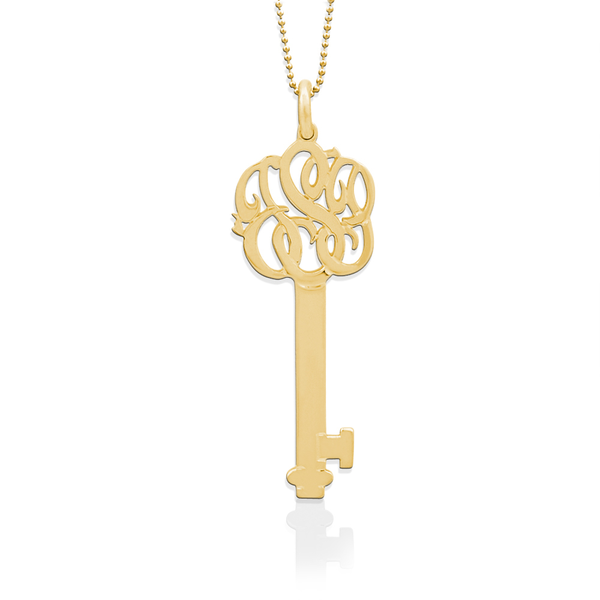 Jane Basch Lace Monogram Key Pendant - 14K Gold
