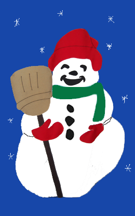 Snowman & Broom Flag on Royal