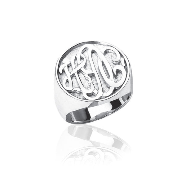 Jane Basch Designs Sterling Silver Carved Monogram Ring