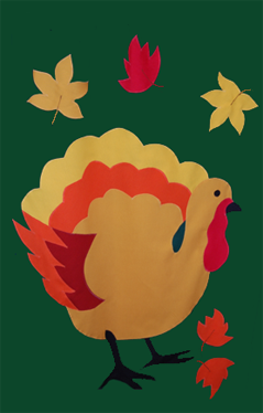 Thanksgiving Turkey Applique House Flag