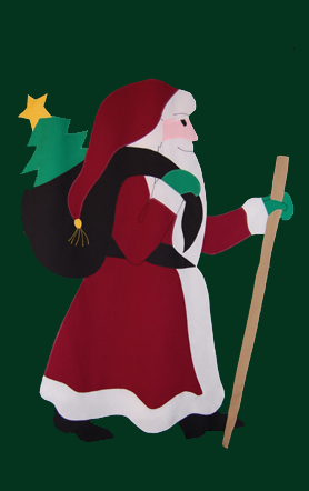 Old St. Nick Santa Flag on Forest with Burgundy Robe