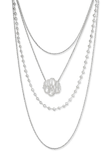 Jane Basch Designs Layers of Luxe Monogram Necklace - Silver