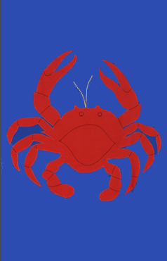 Crab Applique Flag on Royal