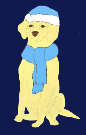 Yellow Lab Flag with Winter Scarf