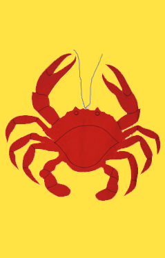 Crab Applique House Flag on Yellow