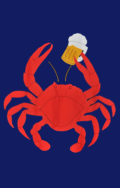 Crab with Beer Applique Flag on Navy