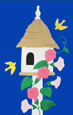 Birdhouse & Trumpet Vines Flag on Royal with Pink Flowers