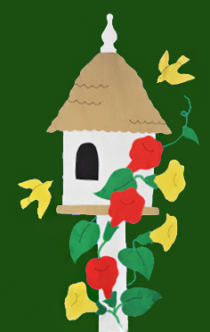 Birdhouse & Trumpet Vines Flag on Forest with Red Flowers